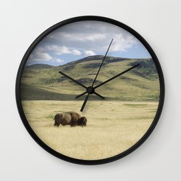 Alone Time - Bison on Range Wall Clock