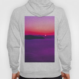 purple sunset in Fira Santorini Hoody