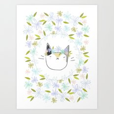 Calico Cat with a Flower Crown Art Print