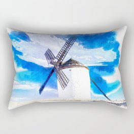 wind mill landscape digital aquarell aqstd Rectangular Pillow