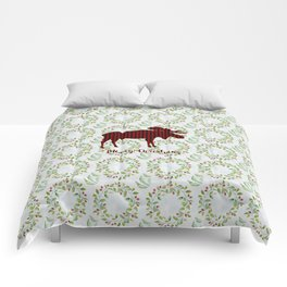 Winter Wreath Merry Christmas Red Buffalo Plaid Reindeer Comforters