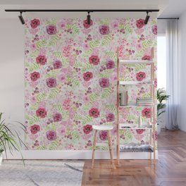 Romantic blush roses and forest Wall Mural