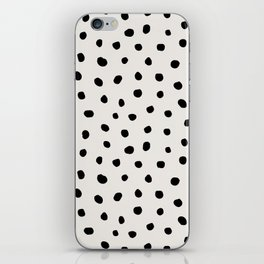 Modern Polka Dots Black on Light Gray iPhone Skin