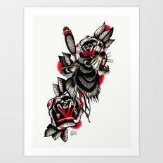 Tattoo Wolf Art Print
