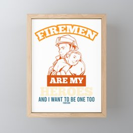Firefighter Hero Baby Framed Mini Art Print