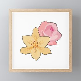 Pink Rose & Day Lily Framed Mini Art Print