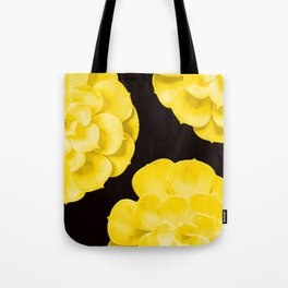 Large Yellow Succulent On Black Background #decor #society6 #buyart Tote Bag