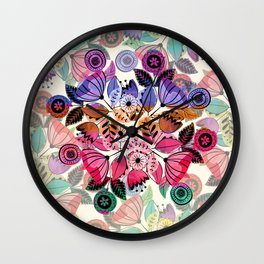 Pink and indigo flower pattern Wall Clock