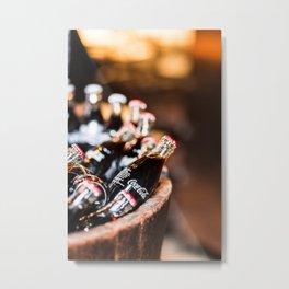Bottles of Coca Cola in a Wooden Barrel Metal Print
