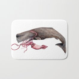 Epic battle between the sperm whale and the giant squid Bath Mat