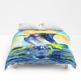 Jumping blue Marlin Chasing Bull Dolphins Comforters
