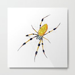 Golden Silk Orb Weaver Spider Metal Print
