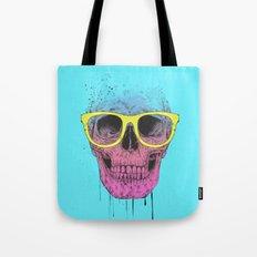 Pop art skull with glasses Tote Bag