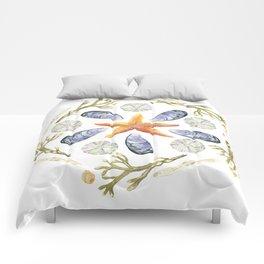 Tide Pool Beach Mandala 3 - Watercolor Comforters