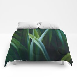 Close Up Of Dark Green Grass Sensual Nature Pattern Comforters