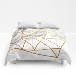 Gold geometric marble Comforters