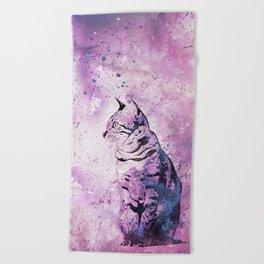 Pink Watercolor Cat Painting Beach Towel