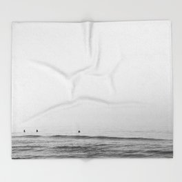 Surfers - Black and White Ocean Photography Huntington Beach California Throw Blanket