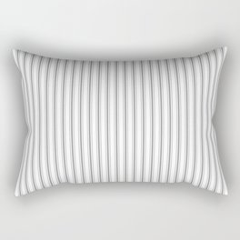 Mattress Ticking Narrow Striped Pattern in Charcoal Grey and White Rectangular Pillow