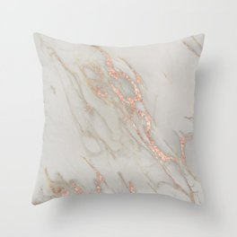 Marble - Rose Gold Marble Metallic Blush Pink Throw Pillow