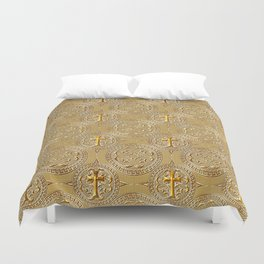gold cross Duvet Cover