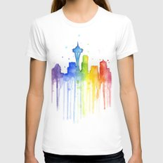 Seattle Skyline Rainbow Watercolor White Womens Fitted Tee SMALL