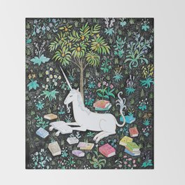 The Unicorn is Reading Throw Blanket