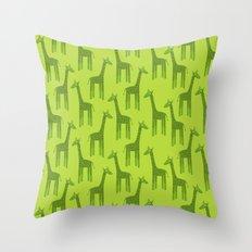 Giraffes-Green Throw Pillow