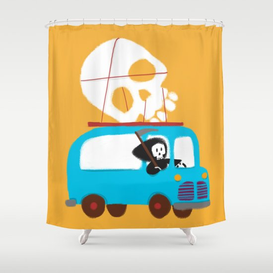 Death on wheels Shower Curtain