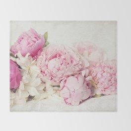 Peonies on white Throw Blanket