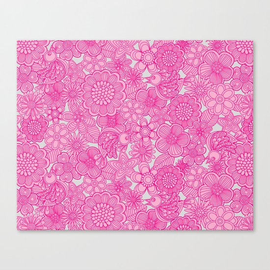 """Welcome birds to my pink garden"" Canvas Print"