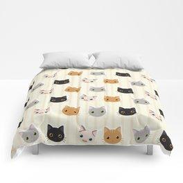 Cute Kitten & Stripes Pattern Comforters
