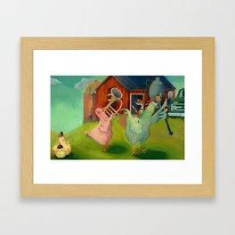 Chicken Parade Framed Art Print