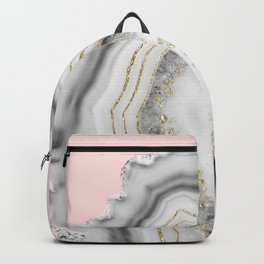 White Agate Gold Foil Glam #2 #gem #decor #art #society6 Backpack