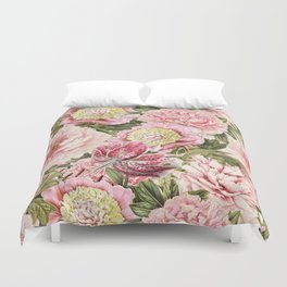 Vintage & Shabby Chic Floral Peony & Lily Flowers Watercolor Pattern Duvet Cover