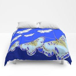 PATTERN OF BLUE & WHITE BUTTERFLIES MODERN ART Comforters