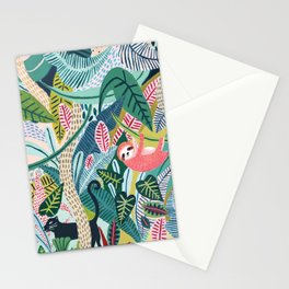 Jungle Sloth & Panther Pals Stationery Cards