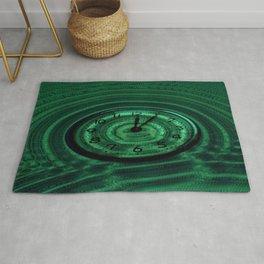 Hands of Time Green Rippling Water Art Motif Rug