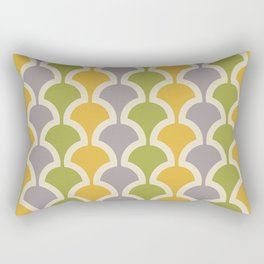 Classic Fan or Scallop Pattern 425 Gray Green and Yellow Rectangular Pillow