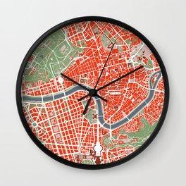 Rome city map classic Wall Clock