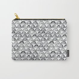 Black watercolor doodle arcs Carry-All Pouch