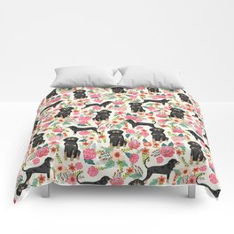 Coonhound floral pattern dog breed customized pet portrait gifts for dog lover Comforters