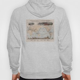 Vintage Volcano and Earthquake World Map (1852) Hoody