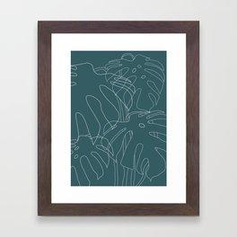 Monstera No2 Teal Framed Art Print