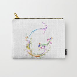 Letter G watercolor - Watercolor Monogram - Watercolor typography - Floral lettering Carry-All Pouch