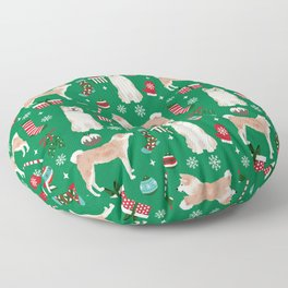 Akita christmas dog breed pattern snowflakes mittens candy canes stockings Floor Pillow