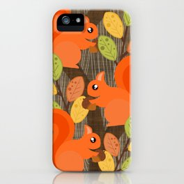 Three Squirrels In A Tree iPhone Case