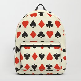 Spade, club, diamond, heart - vintage cards illustration pattern Backpack