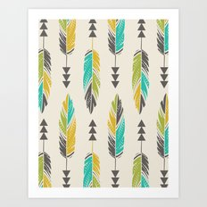 Painted Feathers in a Row-Cream Art Print