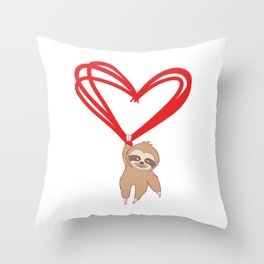 Happy Sloth Valentine's Day T-shirt Design Heart Love Marriage Couple Relationship Anniversary Wife Throw Pillow